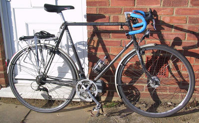 my husband's commuter bike with Shimano hub dynamo and dynamo-powered B&M lamps
